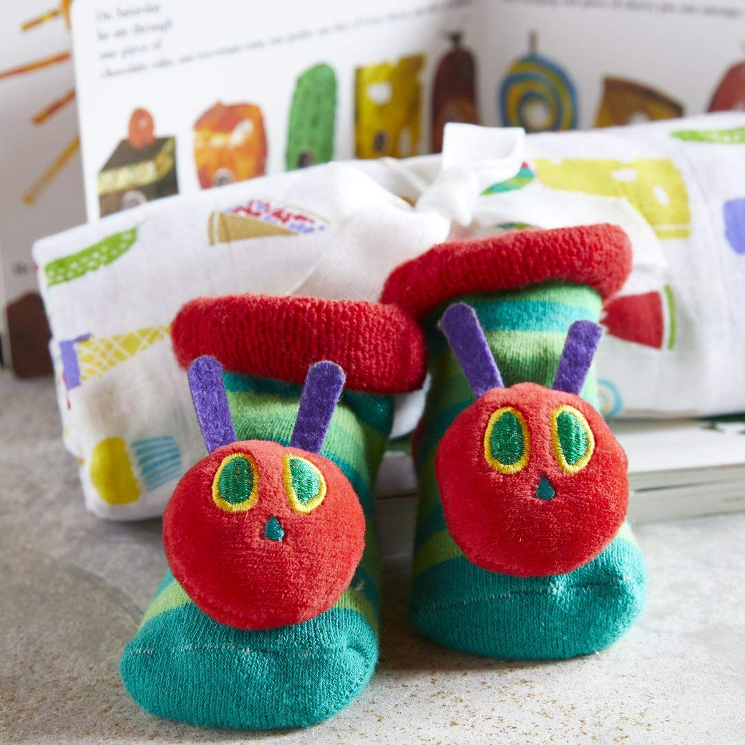 Stephan Babys Very Hungry CaterpillarBabys First Year Rattle Socks and Monthly Milestone Sticker Set with Drawstring Bag