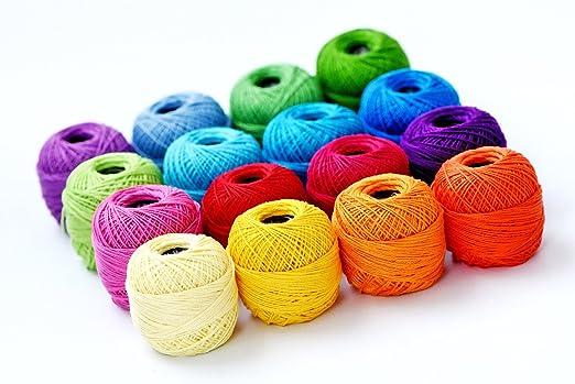 Bolas de algodón KOcean suaves de 10 g, colores arcoíris, tamaño 8 ...