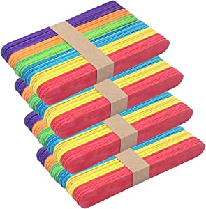 Z ZICOME Craft Sticks Colored Wood Jumbo Popsicle Sticks, 6 Inch, 200 Pack