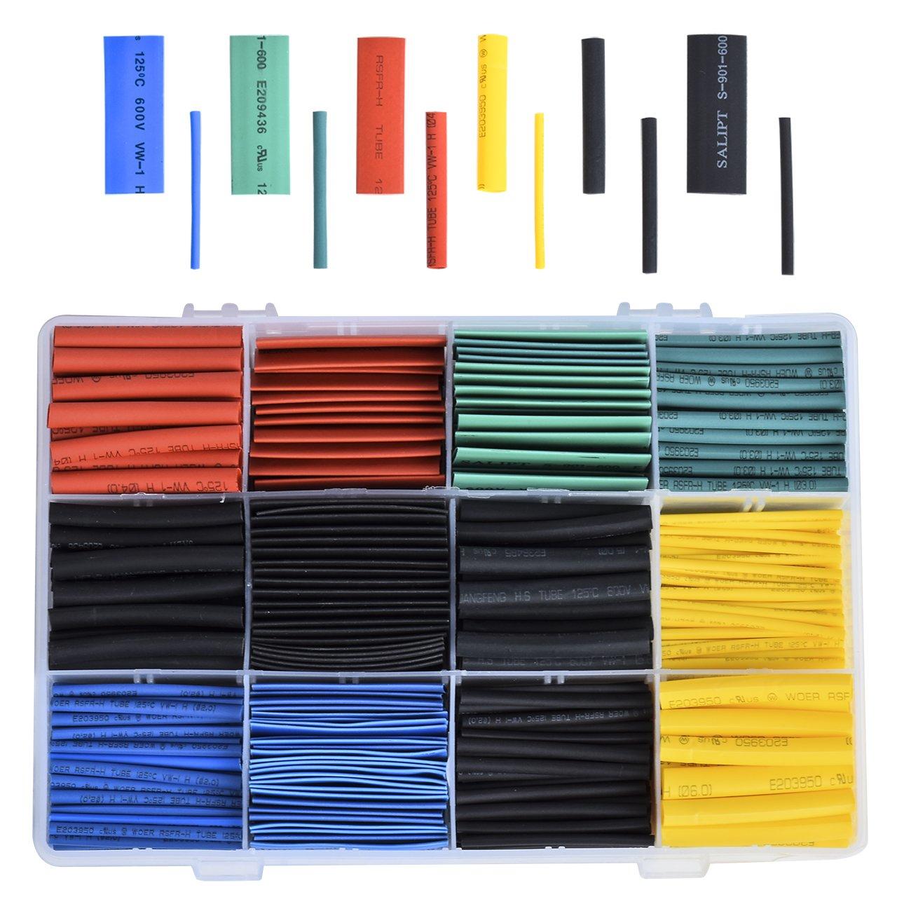 DEDC 530 pezzi Tubo Termoretraibile Assortiti 2:1 per Cavi Elettrici Heat Shrink Car Electrical Wire Tubo Termorestringente in Scatola 5 colori 8 Taglia 45mm B4L3LGFU