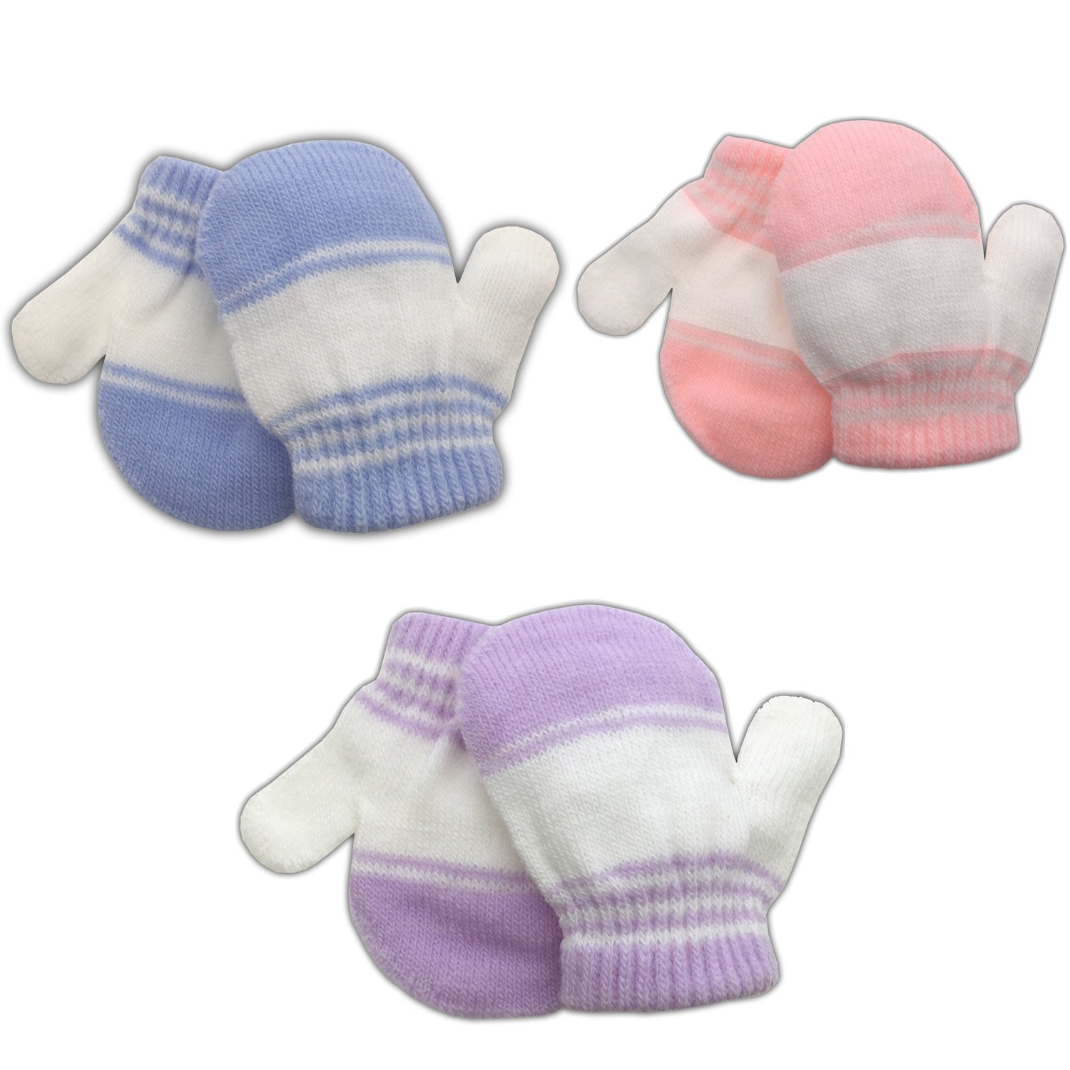 3 Pack Infant Baby Boys Mittens Warm Knitted for Winter Pink Purple) 4521MGP