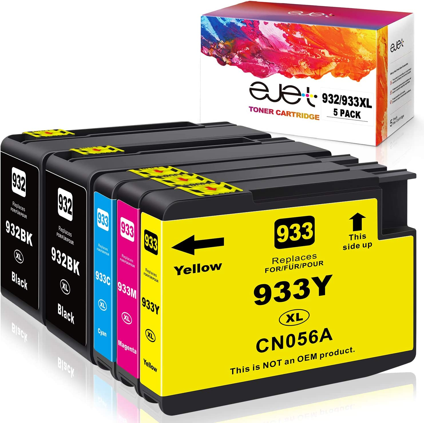 ejet Compatible Ink Cartridge Replacement for HP 932XL 933XL 932 933 XL for Officejet 6100 6600 6700 7110 7610 7612 Printer (2 Black 1 Cyan 1 Magenta 1 Yellow, 5-Pack)