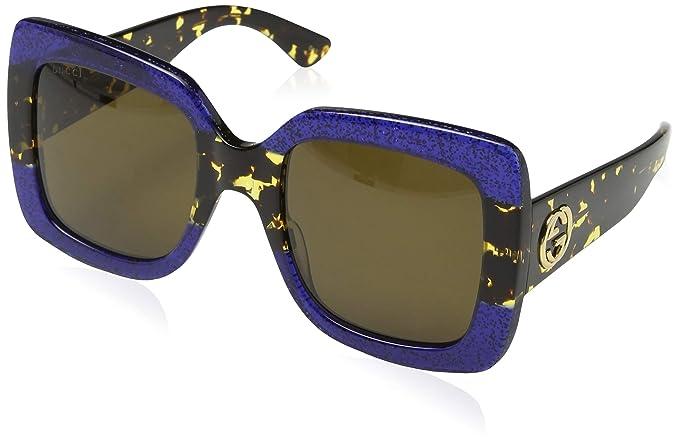 Amazon.com  Gucci 0083S 003 Blue Havana Brown GG0083S Sunglasses ... 753c2e6552e0