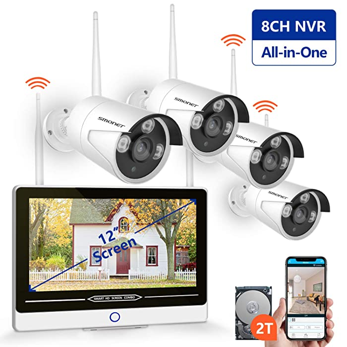 "【2019 New】 All in One with 12"" Monitor 1080P Security Camera System Wireless,SMONET 8-Channel Outdoor Home Camera System(2TB Hard Drive),4pcs 2.0MP(1080P) Waterproof Wireless IP Cameras,P2P,Free APP"