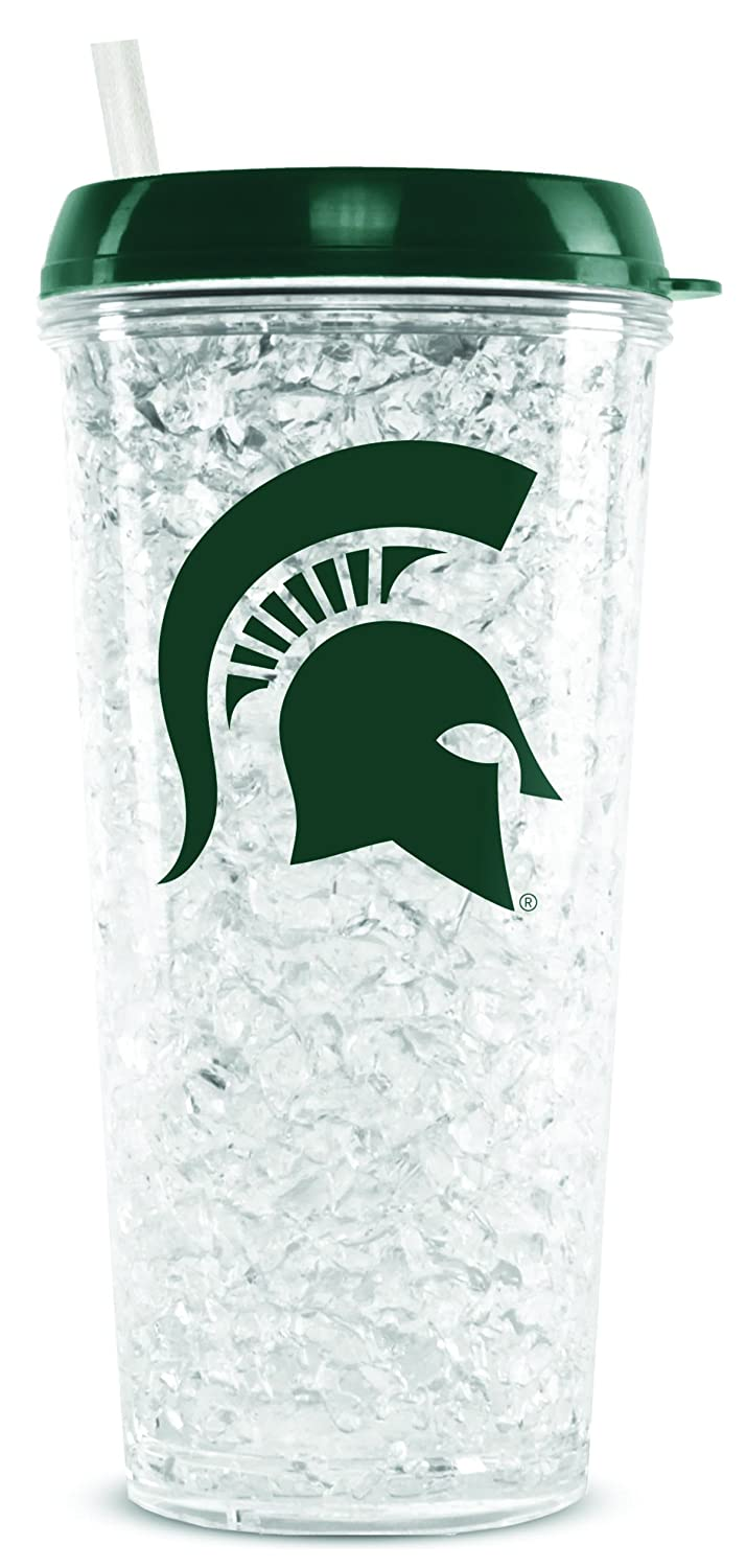 NCAA Michigan State Spartans 16oz Crystal Freezer Tumbler with Lid and Straw