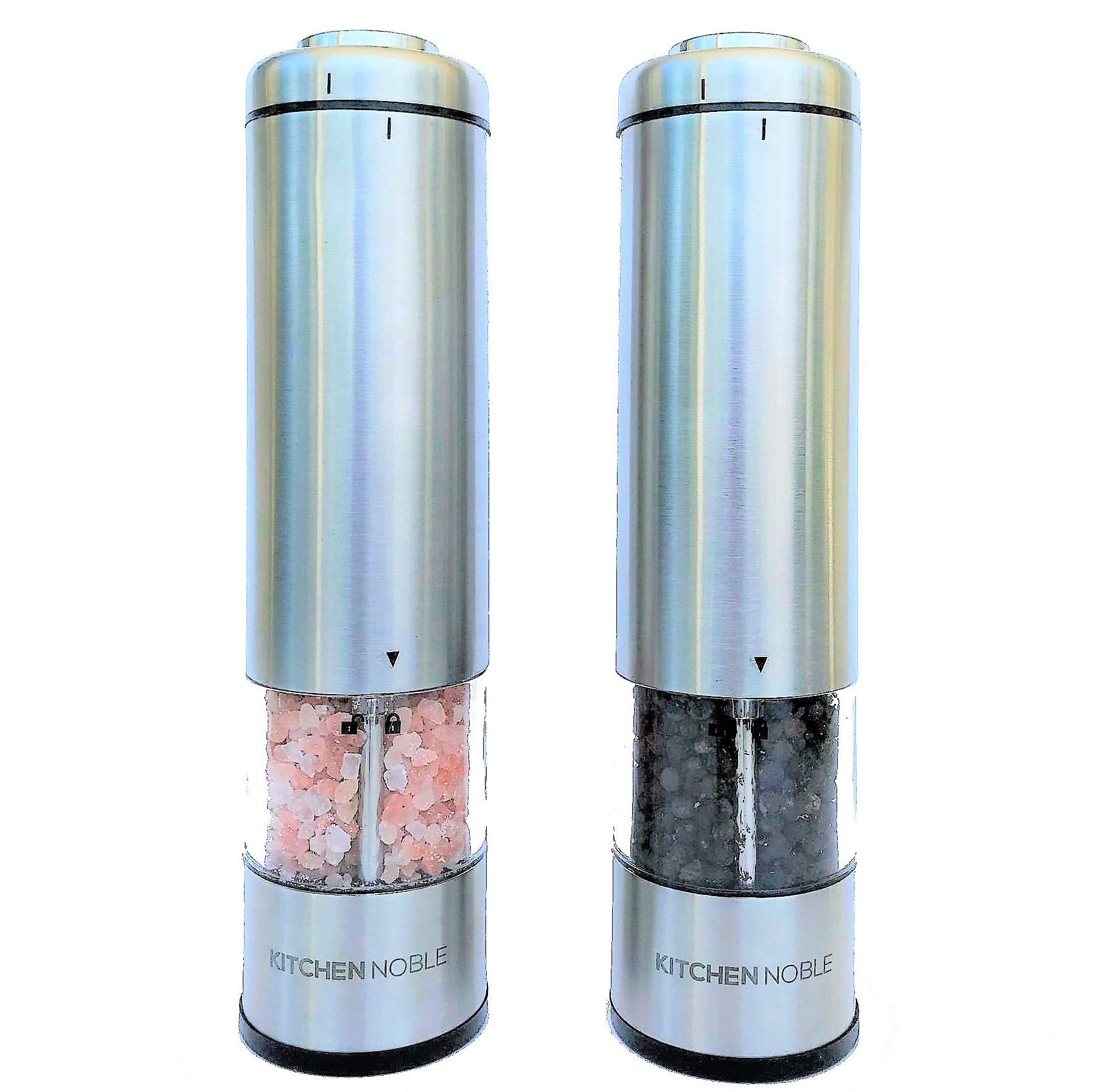 Electric Salt and Pepper Grinder Set by Kitchen Noble - Ceramic Grinding Burrs - Adjustable Coarseness Settings - LED Light - Push Button Operation - Ideal for Grinding Peppercorns,Sea Salt and Spices