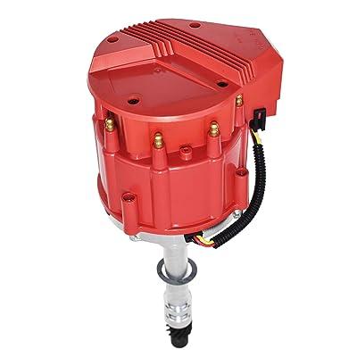 A-Team Performance Marine Electronic Distributor Compatible with Chevy V8 Mercruiser OMC Volvo Pleasurecraft ChrisCraft Crusader Yanmar SBC BBC 283 302 305 307 327 350 383 396 400 427 454 Red Cap: Automotive
