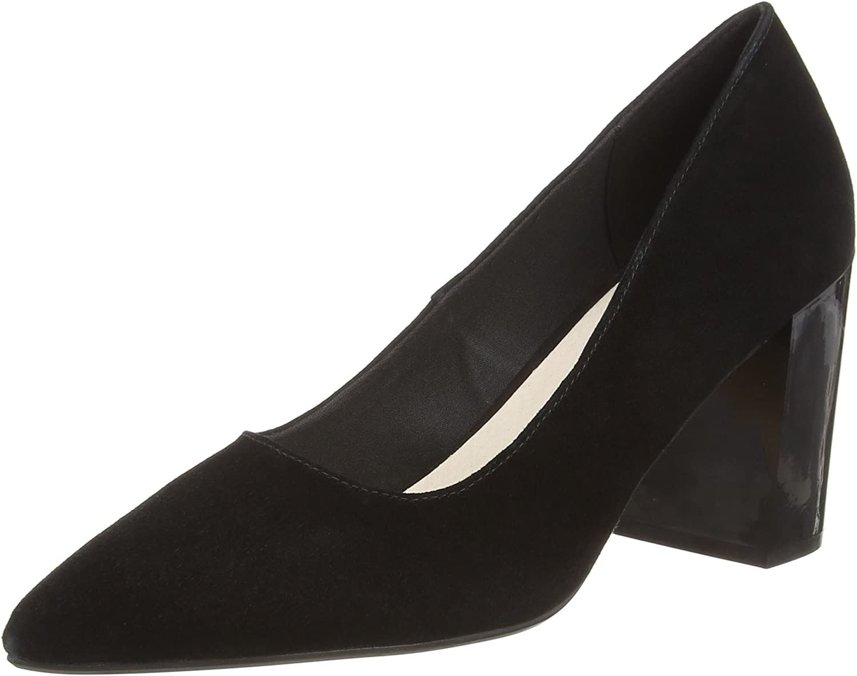 TALLA 38 EU. Bianco Suede Pump, Zapatos de tacón con Punta Cerrada para Mujer