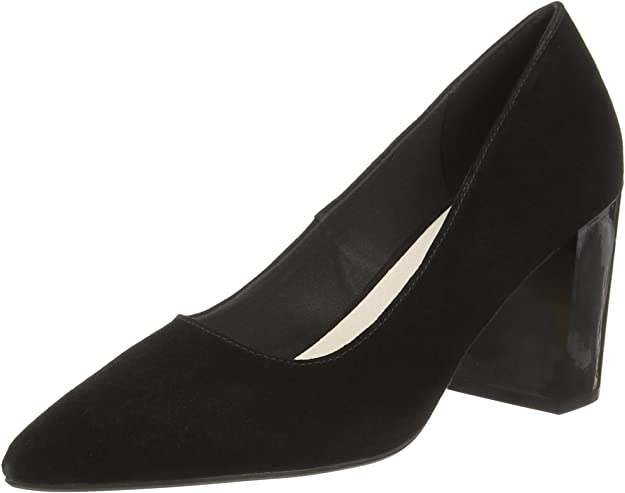 TALLA 40 EU. Bianco Suede Pump, Zapatos de tacón con Punta Cerrada para Mujer