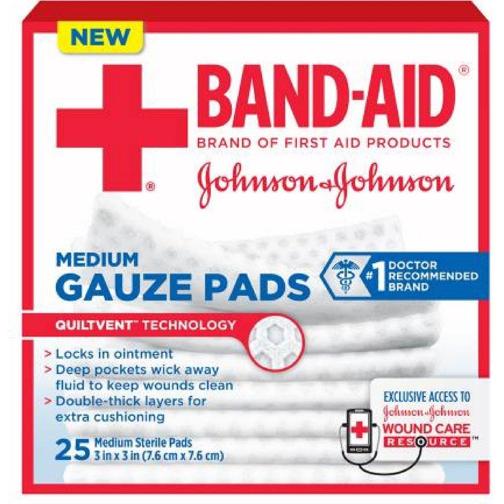 Band-Aid Johnson & Johnson Medium Gauze Pads, 25 Medium Sterile Pads 3 in X 3 in (Pack of 4) by Johnson & Johnson