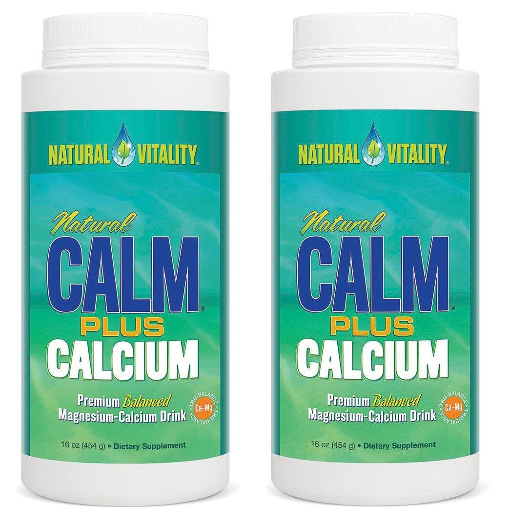 Natural Vitality Natural Magnesium Calm Plus Calcium, (2 Bottles of 16 Ounce)