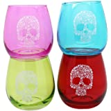 TMD Holdings Flower Candy Skull Stemless Wine Glass (Set of 4), Multicolored