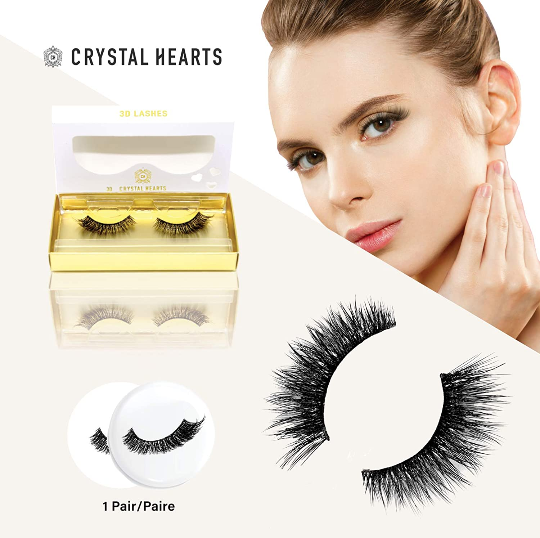 dfecc709897 Amazon.com : Crystal Hearts Premium Quality Eyelashes | Ultra-Glamorous  Dramatic Look | Natural Feel False Lashes for All Eyes | Soft & Shiny 3D  Fake Lash ...