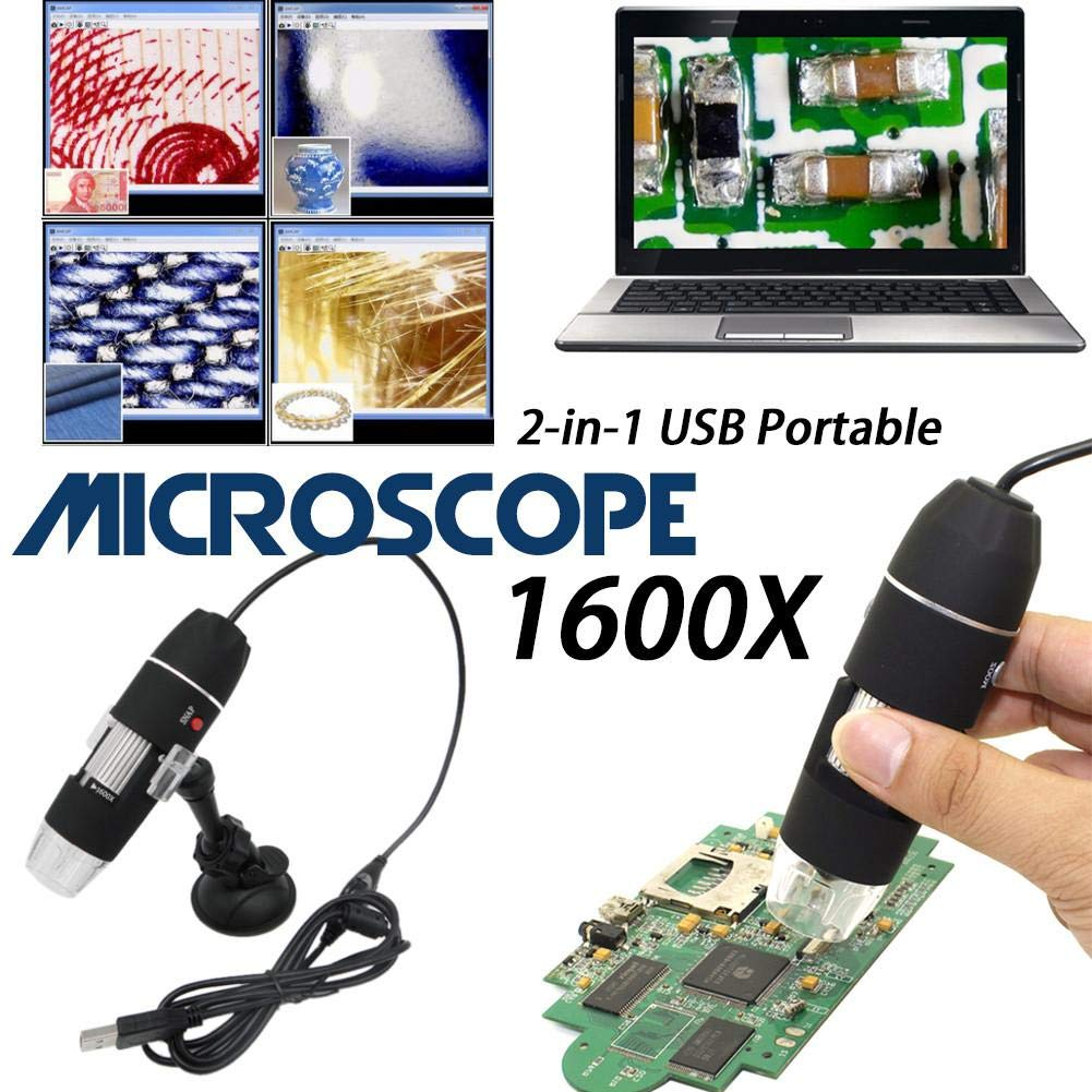 Microscopio digitale elettronico 1600  x ingrandimento endoscopio LED Mini USB HD portatile Zoom camera 2  MP Light Magnifier industriale Medical seguenti leggero luci laboratorio ricerca componenti Jewe Comaie®