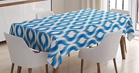 Amazon Com Ambesonne Ikat Tablecloth Damask Inspired Ikat Style Pattern Vintage Mesh Design Motifs And Shapes Print Dining Room Kitchen Rectangular Table Cover 52 X 70 White Blue Home Kitchen