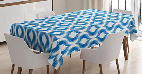 Ikat Tablecloth By Ambesonne, Damask Inspired Ikat Style Ethnic Pattern  Vintage Mesh Design Motifs And