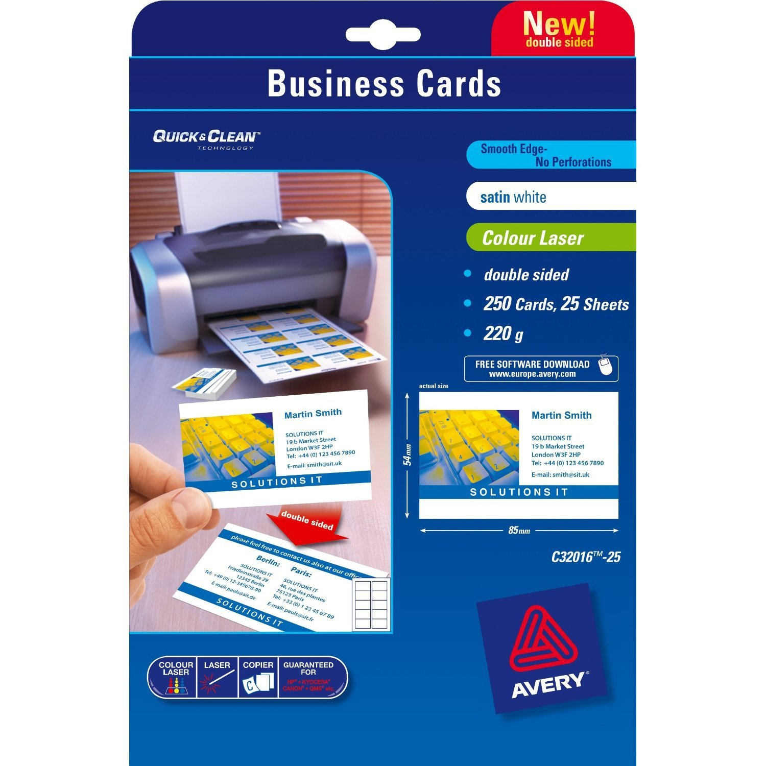 Avery C32016-25 - Business Cards Double Sided Satin C32016-25 ...