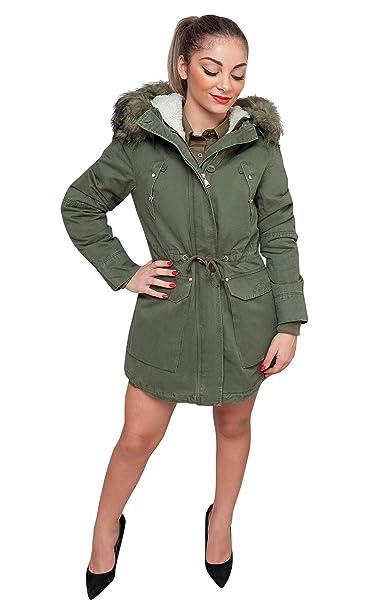 54bc58e4559dbb Evoga Giaccone Parka donna verde casual giacca invernale con pelliccia (xs)