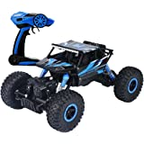 deAO RC Coche Todoterreno Rock Crawler 4x4 a Control Remoto - 1:18 Rastreador de Roca 2.4GHz Sync System Modo Multi Jugador (Azul)