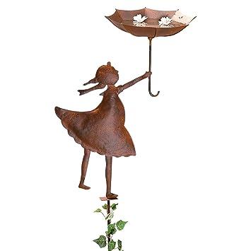 Gartenstecker Vogeltränke Mädchen Mit Schirm Metall Rost Braun Ca