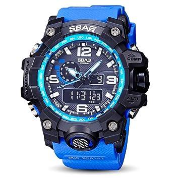 Logobeing Reloj LED Digital Hombre Pulsera Relojes Deportivos Impermeables Electrónica Digital (Azul): Amazon.es: Deportes y aire libre
