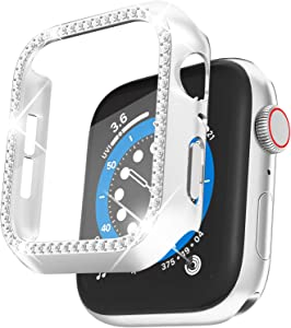 QVLANG Compatible Apple Watch Screen Protector Case 38mm 40mm 42mm 44mm, Bling Series Cover, Women Crystal Diamond case with Built-in Screen Protector for iWatch Series 6/5/4/3/2/1/SE (Silver, 40mm)