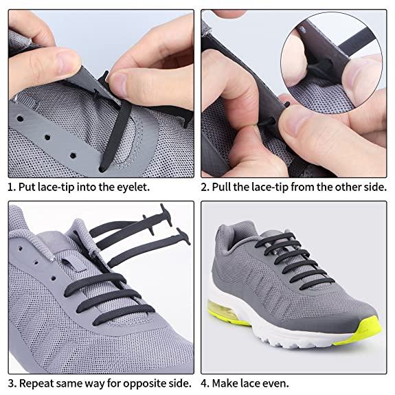 2 Pares Homar Cordones de zapatos para niños y adultos Cordones impermeables zapato atlético de silicona elástico plano de la zapatilla de deporte El ...
