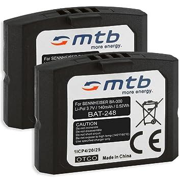 2x Baterías BA-300 para auriculares inalámbricos Sennheiser RI 410 (IS 410),