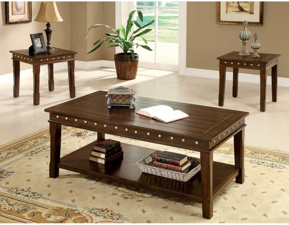 Furniture of America 'Theresa' 3-Piece Rustic Nailhead Trim Coffee/End Table Set