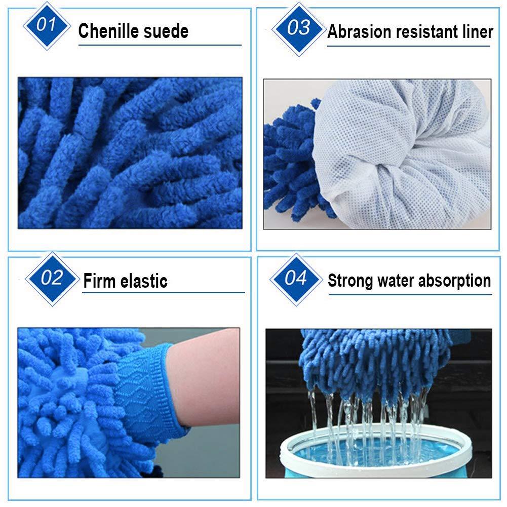 WENTS Gant de Voiture Microfibre Nettoyage Voiture Kit dOutil de Lavage Corail Velours Absorbant Wet//Dry Clean Nettoyage pour Voiture 2Pcs Bleu