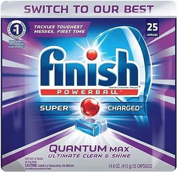 Finish Quantum Max Powerball, 25 pestañas, lavavajillas detergente ...