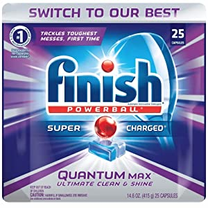 Finish Quantum Max Powerball, Dishwasher Detergent Tablets, 25 Tabs