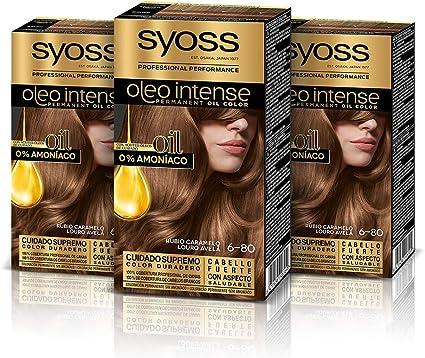 Syoss Oleo Intense - Tono 6-80 Rubio Caramelo (Pack De 3) – Coloración permanente sin amoníaco – Resultados de peluquería – Cobertura profesional de ...