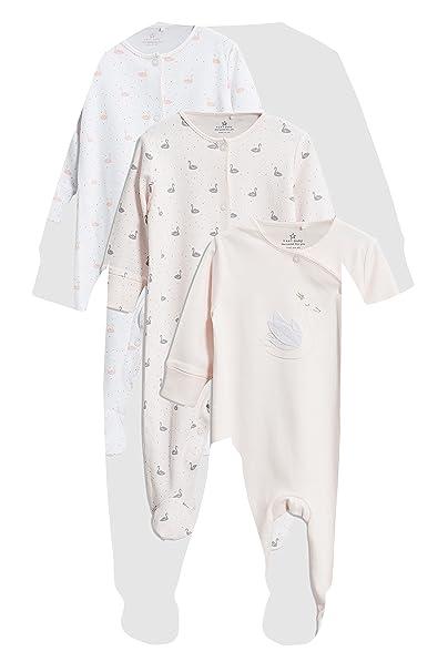 next Bebé-Niñas Pack De 3 Pijamas Tipo Pelele Cisne Delicado Rosa Recién Nacido