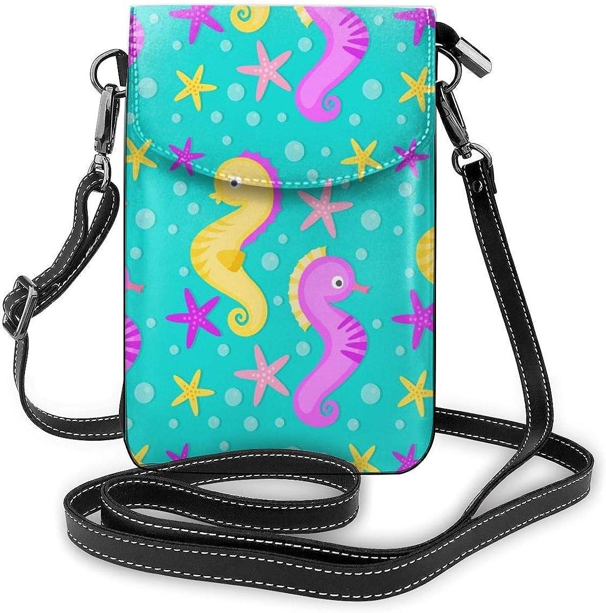 Lawenp Lindo monedero para teléfono con bandolera de caballos de mar, pequeño mini bolso de hombro, bolso para teléfono celular, billetera de cuero para mujeres y niñas