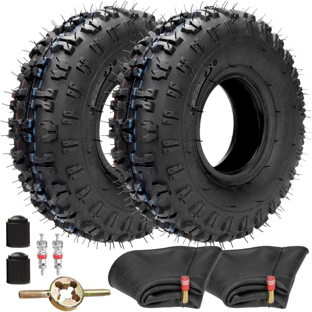 FVRITO 2 Pack of 4.10-4 410-4 4.10/3.50-4 Tire with Inner Tube for Lawn Mowers Garden Rototiller Snow Blower Mowers Hand Truck Wheelbarrow Go Cart Kid ATV