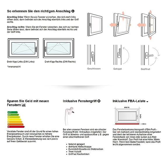 innen wei/ß//au/ßen wei/ß DIN Links 600 x 900 mm Fenster Dreh- /& Kippfunktion 2 fach Verglasung 60 mm Profil BxH: 60 x 90 cm Kellerfenster
