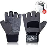 Blusmart Workout Gloves, Weight Lifting Gloves Half-finger Sport Exercise Gloves with Full Palm Protection & Extra Grip for Fitness Cycling Biking Train (Men & Women)