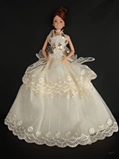 White Ball Gown with Pink Sequined Lace Details Made to Fit Barbie Doll