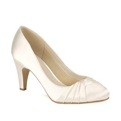 Paradox London Pink Round Toe Mid Heel Pleated Court Ruffle Wedding Shoes    Silver   UK