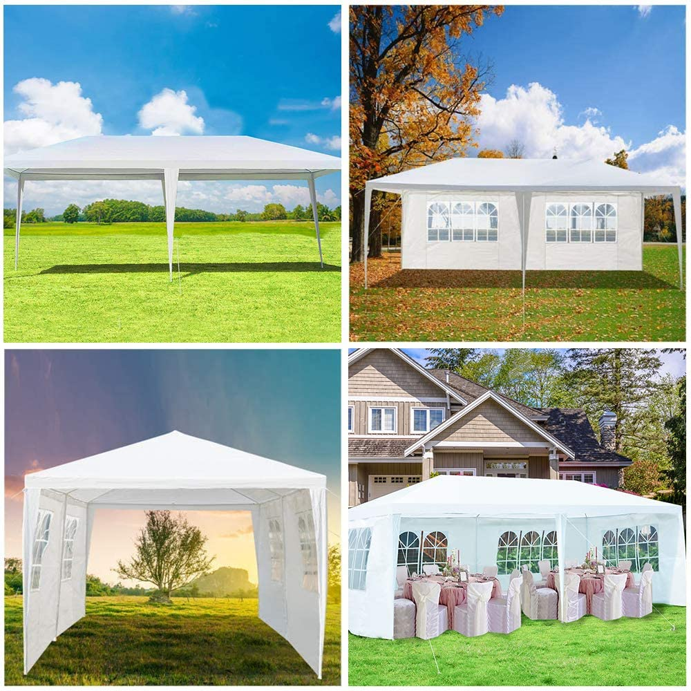 10x10 Portable Wedding Party Tent,Patio Parties Tent BBQ Shelter Canopy Gazebo for Outdoor Events Easy to Assemble C-chain 10x10 Outdoor Waterproof Gazebo Canopy Tent