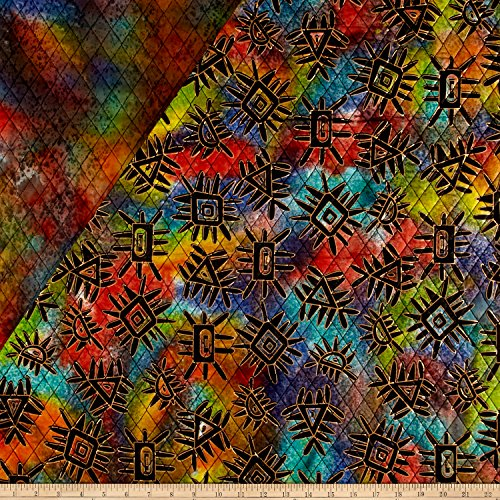 Textile Creations Double Face Quilted Indian Batik Abstract Metallic/Multi Fabric by The Yard Multicolor