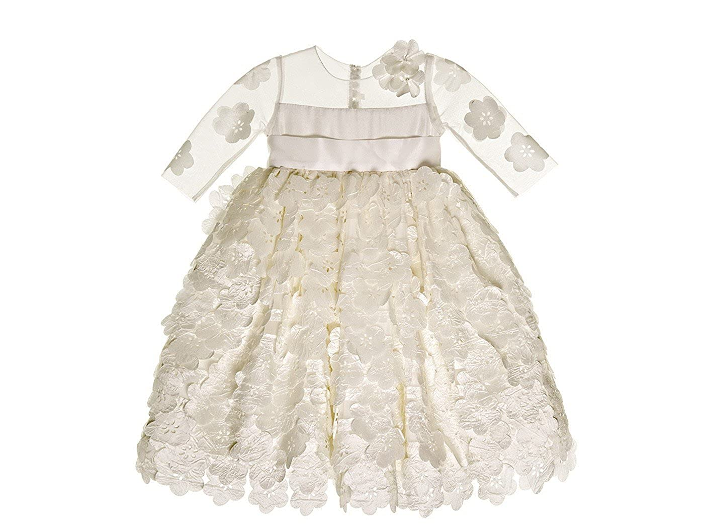 Kelaixiang Jewel 3//4 Sleeves Baytism Dress Applique Cute White