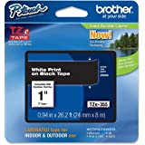 Brother Laminated Tape White on Black, 24mm (TZe355) - Retail Packaging