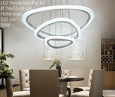 Eurohandisplay 2138 3 Ringe LED Pendelleuchte Mit Fernbedienung Lichtfarbe  Und Helligkeit Einstellbar Acryl Schirm