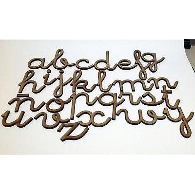 156 letras minúsculas de madera DM. Abecedario minúsculas tipo de letra escolar: Hogar