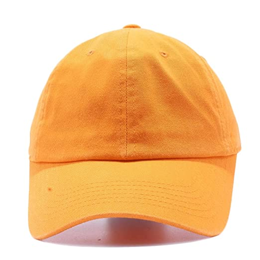 abe2108d367 Acorn Blank Cotton Twill Dad Hat - Adjustable Baseball Cap with  Unstructured Low Profile (Orange