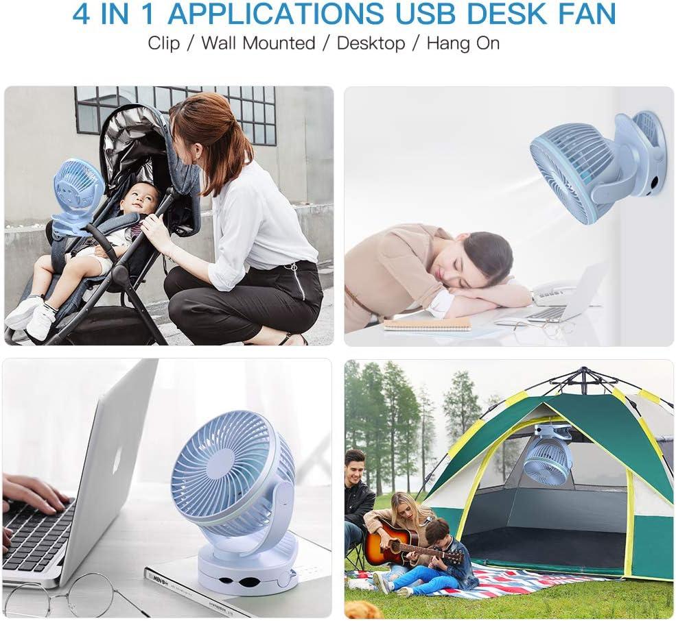 wiederaufladbar Mini USB Fan mit f/ünf Klingen /& drei einstellbare Geschwindigkeiten Siivton tragbar L/üfter Mehrzweck getrennt Schreibtisch Boden /& PDA F/ür Office//Home//Camping//Reisen dunkelblau