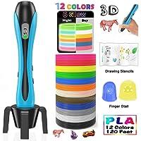 Stylo 3D Lovebay【2018 Nouvelle Version 】3D Professionnel Pen Set Stylo d'Impression 3D avec Ecran LCD+12 Multicolores Filament PLA Φ1,75 mm,Chaque 3,1M, Total 120 pieds, Meilleur Cadeau - Pour Enfant et Adulte