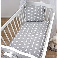 Baby Comfort 2 Stuk Peuter Dekbedovertrek & Kussensloop 80x70 cm Set voor Wieg/Wieg/Kinderwagen Grijze Stippen